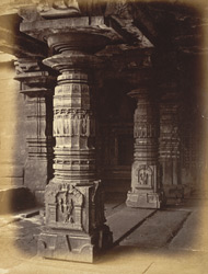 Columns inside a deserted temple in the village, Aihole, Bijapur District